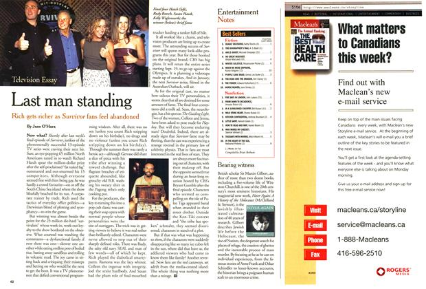 Article Preview: Last man standing, September 2000 | Maclean's