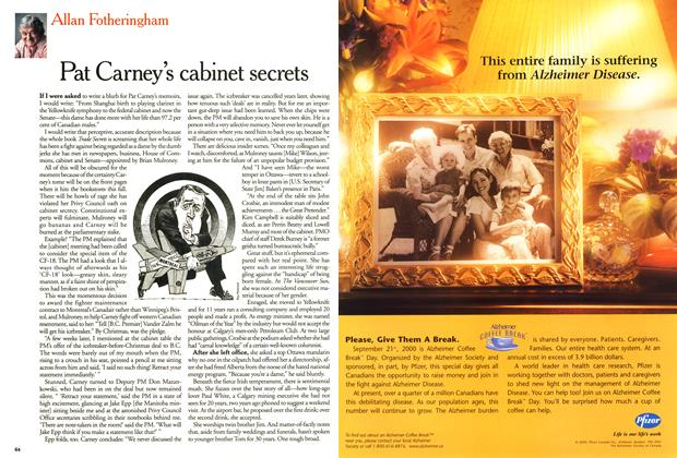 Article Preview: Pat Carney's cabinet secrets, September 2000 | Maclean's