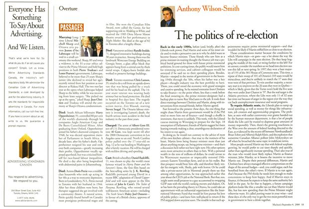 Article Preview: The politics of re-election, September 2000 | Maclean's