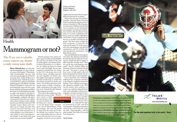 Article Preview: Mammogram or not?, October 2000   Maclean's