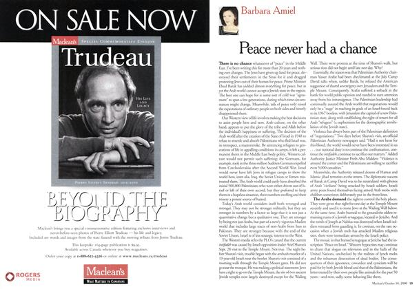 Article Preview: Peace never had a chance, October 2000 | Maclean's