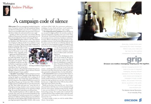 Article Preview: A campaign code of silence, October 2000 | Maclean's