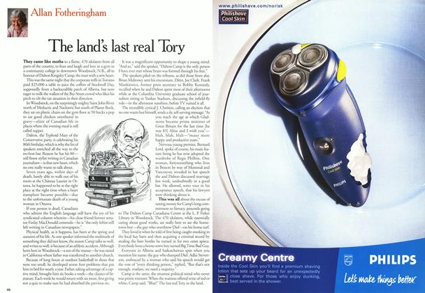 Article Preview: The land's last real Tory, October 2000 | Maclean's