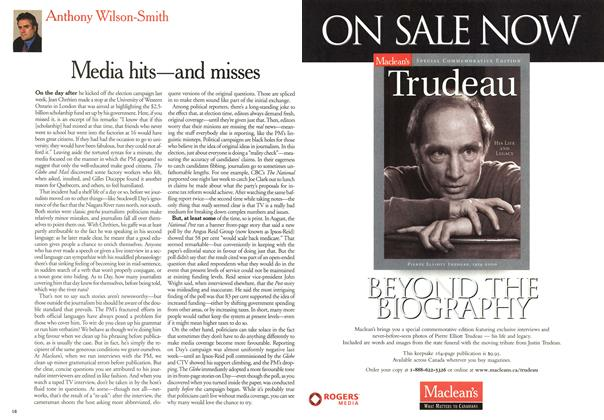 Article Preview: Media hits—and misses, November 2000   Maclean's