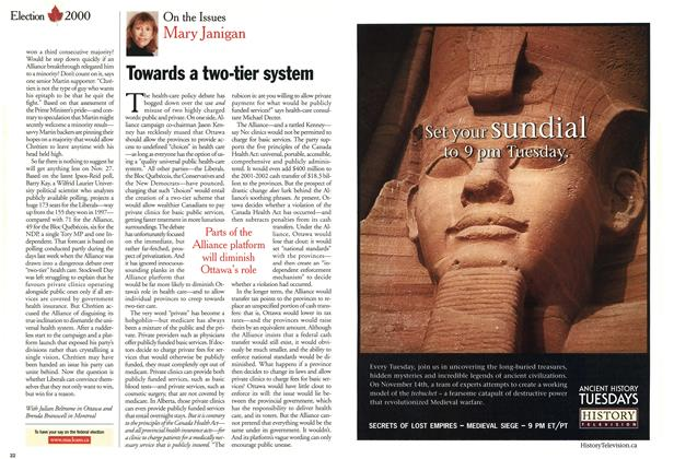 Article Preview: Towards a two-tier system, November 2000 | Maclean's