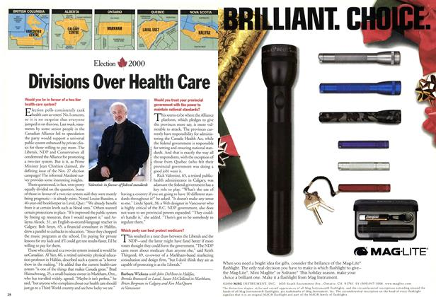 Article Preview: Divisions Over Health Care, November 2000   Maclean's