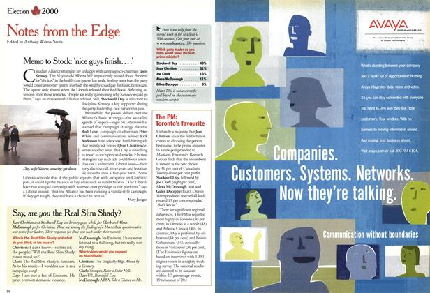 Article Preview: Notes from the Edge, November 2000   Maclean's