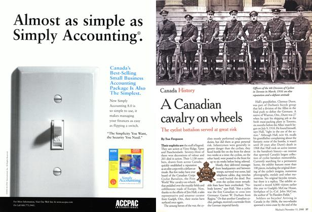 Article Preview: A Canadian cavalry on wheels, November 2000 | Maclean's