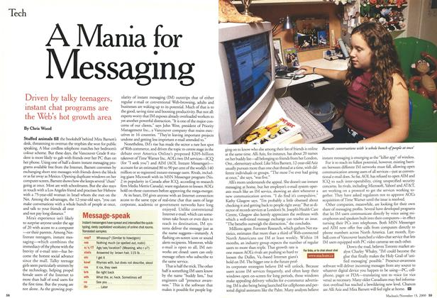 Article Preview: A Mania for Messaging, November 2000 | Maclean's