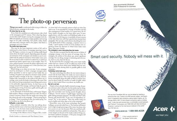 Article Preview: The photo-op perversion, November 2000 | Maclean's