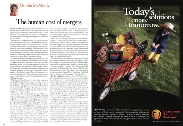 Article Preview: The human cost of mergers, November 2000 | Maclean's