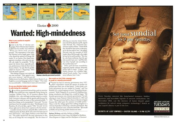 Article Preview: Wanted: High-mindedness, November 2000 | Maclean's