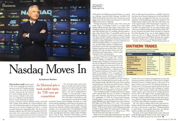 Article Preview: Nasdaq Moves In, November 2000 | Maclean's