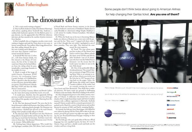 Article Preview: The dinosaurs did it, December 2000 | Maclean's