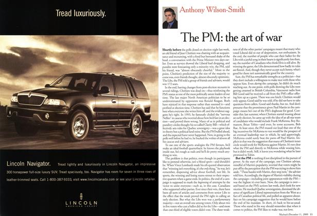 Article Preview: The PM: the art of war, December 2000 | Maclean's