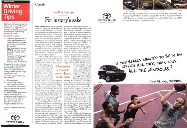 Article Preview: For history's sake, December 2000 | Maclean's