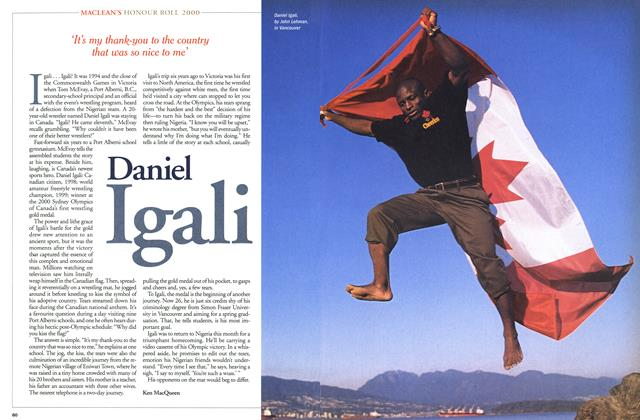 Article Preview: Daniel Igali, December 2000 | Maclean's