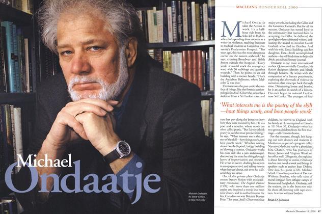 Article Preview: Michael Ondadtje, December 2000 | Maclean's