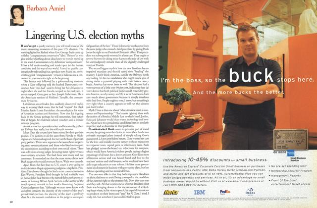 Article Preview: Lingering U. S. election myths, December 25, 2000/January 1, 2001 2000 | Maclean's