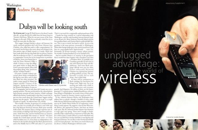 Article Preview: Dubya will be looking south, December 25, 2000/January 1, 2001 2000 | Maclean's