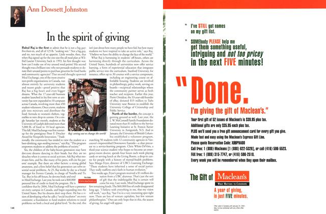 Article Preview: In the spirit of giving, December 25, 2000/January 1, 2001 2000 | Maclean's