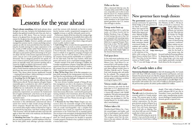 Article Preview: Lessons for the year ahead, January 2001 | Maclean's