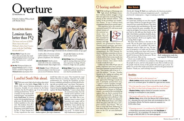 Article Preview: Overture, January 2001 | Maclean's