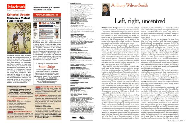 Article Preview: Left, right, uncentred, January 2001 | Maclean's