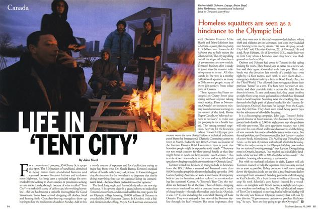 Article Preview: LIFE IN 'TENT CITY', January 2001 | Maclean's