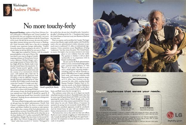 Article Preview: No more touchy-feely, January 2001 | Maclean's