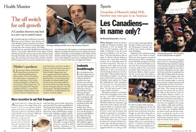 Article Preview: Les Canadiens— in name only?, January 2001 | Maclean's