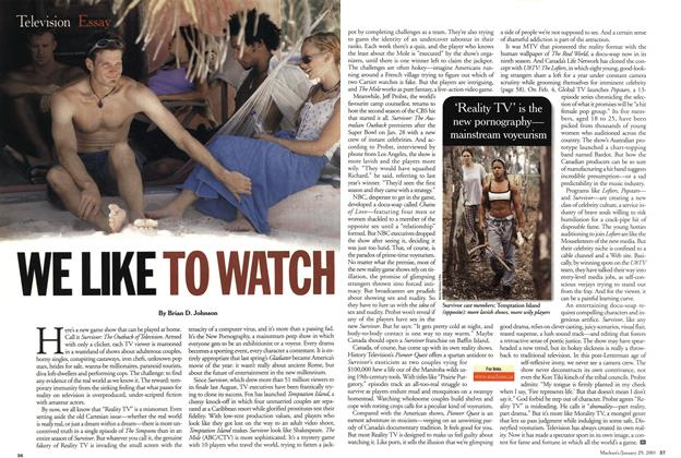 Article Preview: WE LIKE TO WATCH, January 2001 | Maclean's