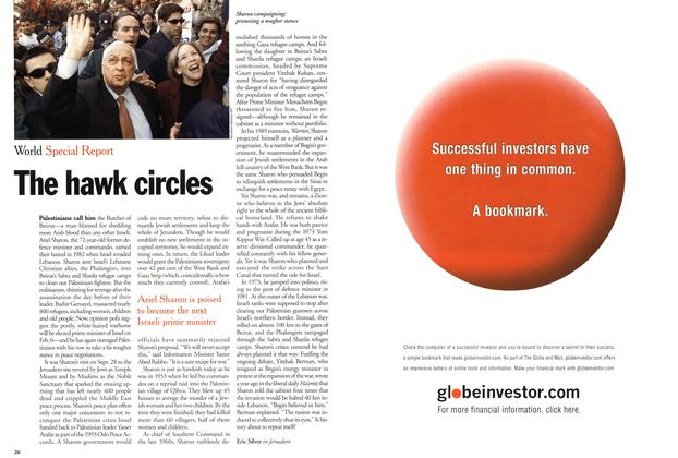 Article Preview: The hawk circles, February 2001 | Maclean's
