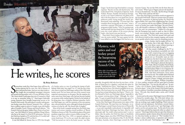 Article Preview: He writes, he scores, February 2001 | Maclean's