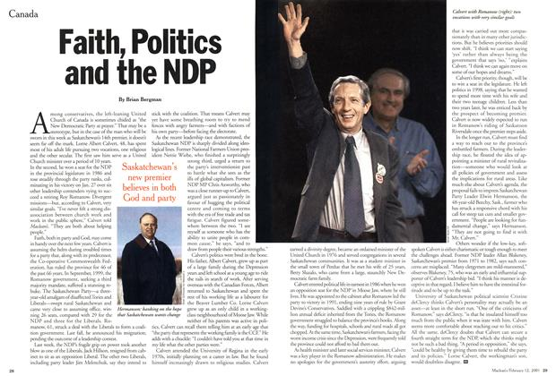 Article Preview: Faith, Politics and the NDP, February 12, 2001 2001 | Maclean's