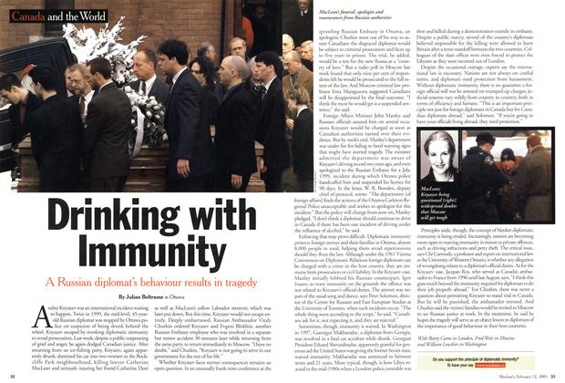 Article Preview: Drinking with Immunity, February 12, 2001 2001 | Maclean's