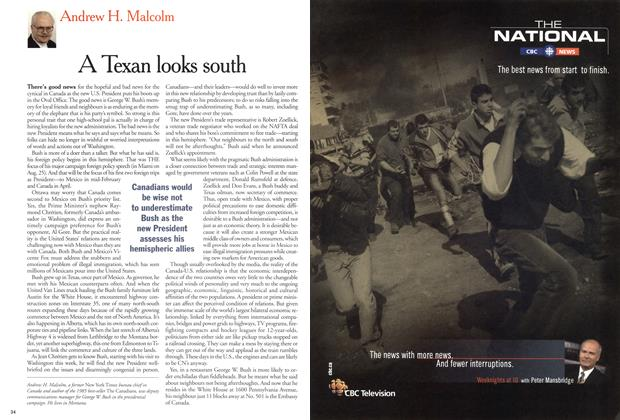 Article Preview: A Texan looks south, February 12, 2001 2001 | Maclean's