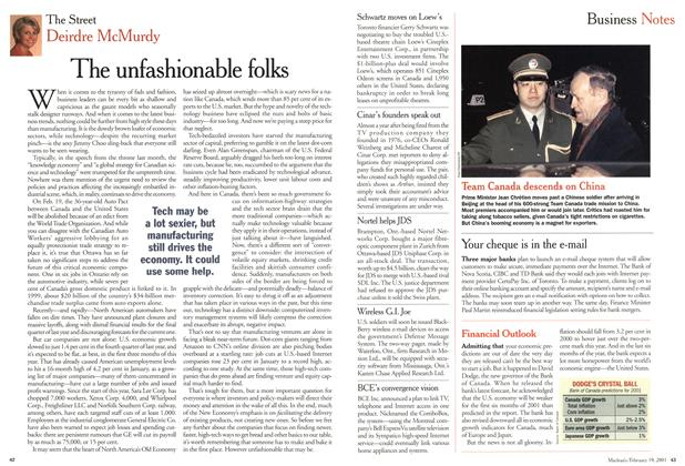 Article Preview: Business Notes, February 2001 | Maclean's