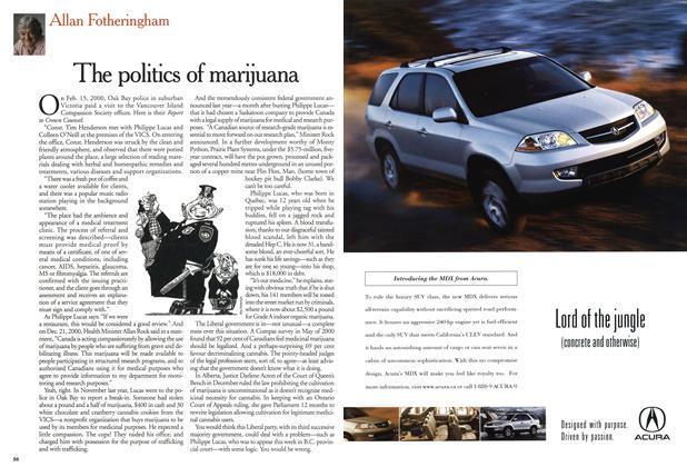 Article Preview: The politics of marijuana, February 2001   Maclean's