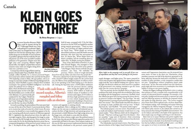 Article Preview: KLEIN GOES FOR THREE, February 2001 | Maclean's