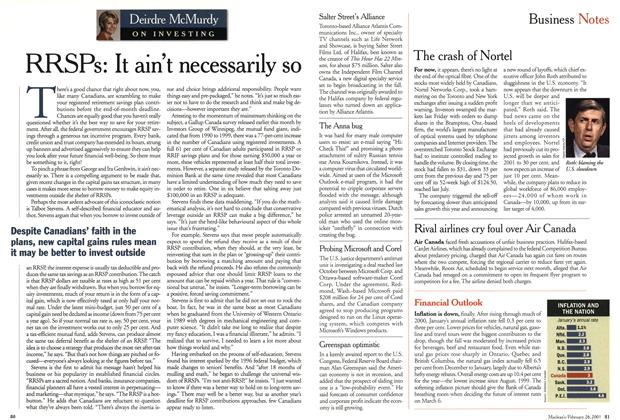 Article Preview: RRSPs: It ain't necessarily so, February 2001 | Maclean's
