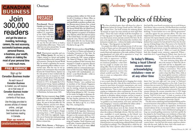 Article Preview: The politics of fibbing, February 2001 | Maclean's