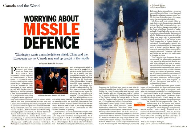 Article Preview: WORRYING ABOUT MISSILE DEFENCE, March 2001 | Maclean's