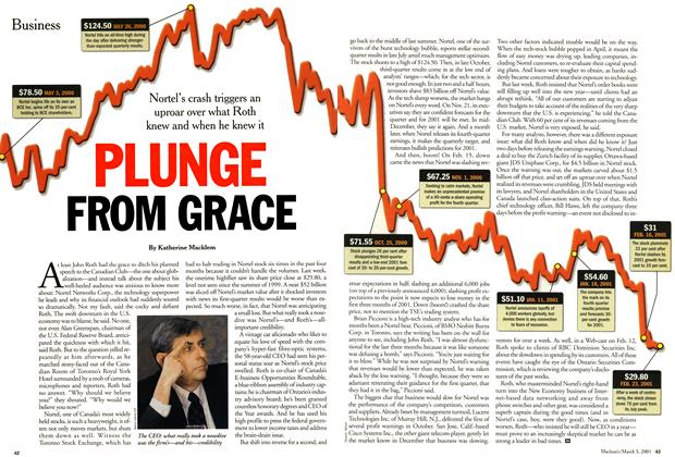 Article Preview: PLUNGE FROM GRACE, March 2001 | Maclean's
