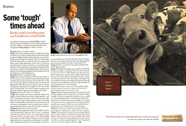 Article Preview: Some 'tough' times ahead, March 2001 | Maclean's