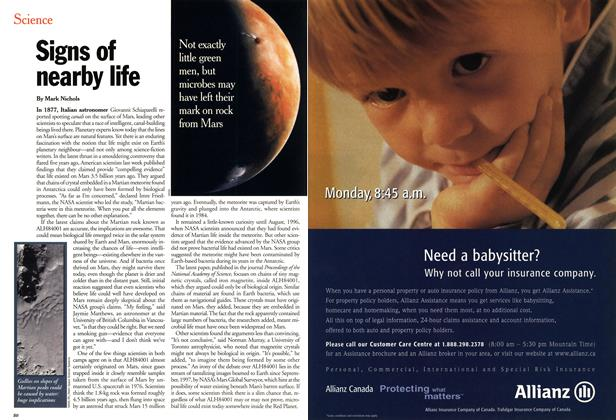 Article Preview: Signs of nearby life, March 2001 | Maclean's