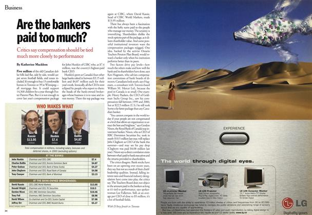 Article Preview: Are the bankers paid too much?, March 2001 | Maclean's