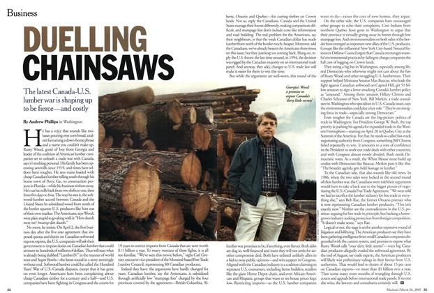 Article Preview: DUELLING CHAINSAWS, March 2001 | Maclean's