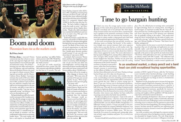 Article Preview: Time to go bargain hunting, March 2001 | Maclean's