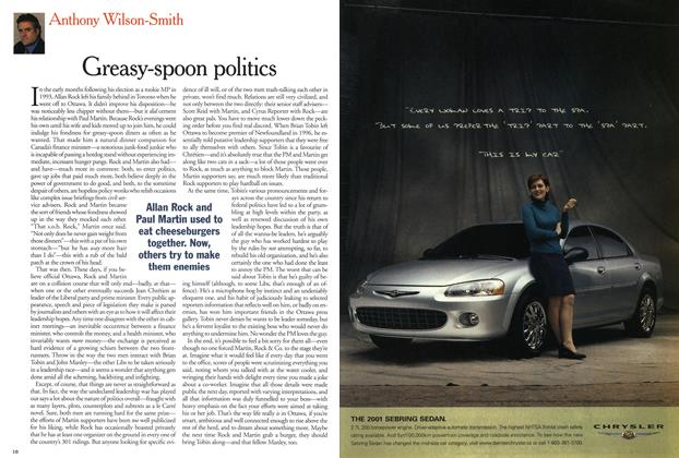 Article Preview: Greasy-spoon politics, March 2001 | Maclean's